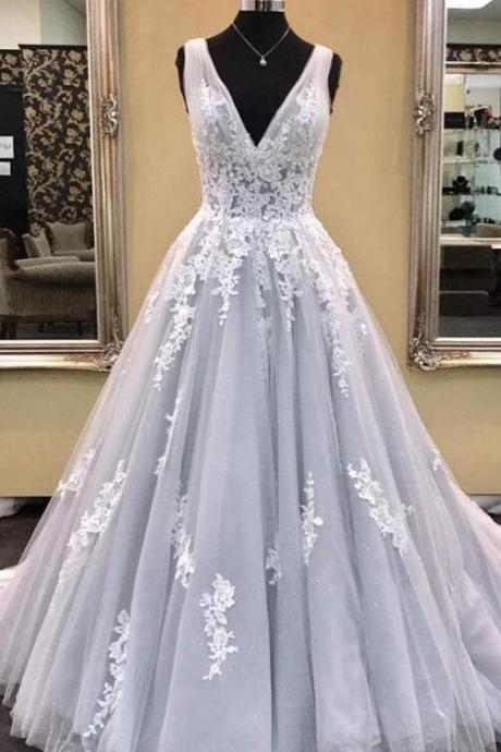 Elegant Lace Wedding Dress,A-Line V-Neck Wedding Dress,Gray Tulle Long Prom/Evening Dress with Appliques