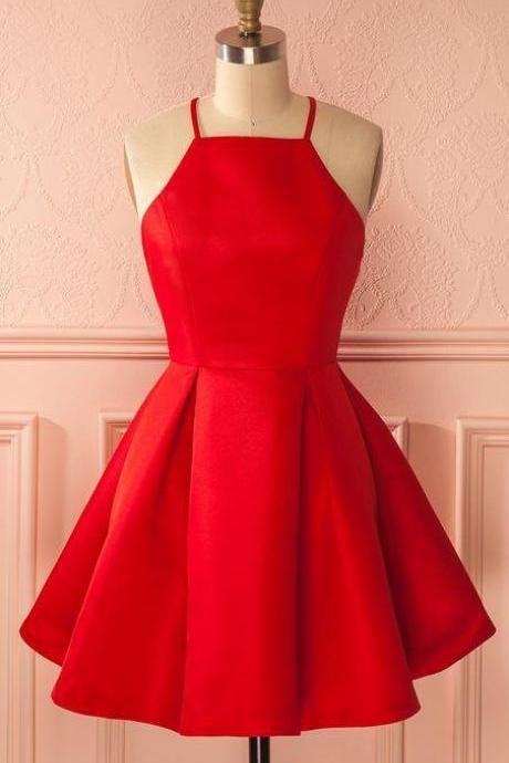 Sexy Homecoming Dress,Cheap Stain Homecoming Dress,Short Prom Dress,A-Line Spaghetti Straps Satin Red Homecoming Dress With Pleats