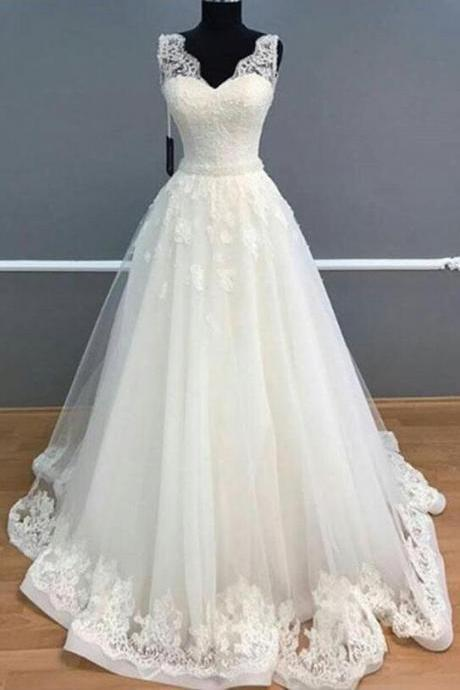 Elegant A-Line Weding Dress,Lace Wedding Dress,V-Neck Sleeveless White Wedding Dress,Long Wedding Dress With Lace