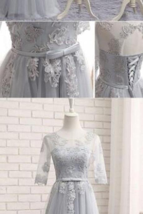 Gray bridesmaid dress, Tulle Prom Dress,Short Sleeve Prom Dress,Cheap Prom Dress,gray tulle lace long wedding party dress