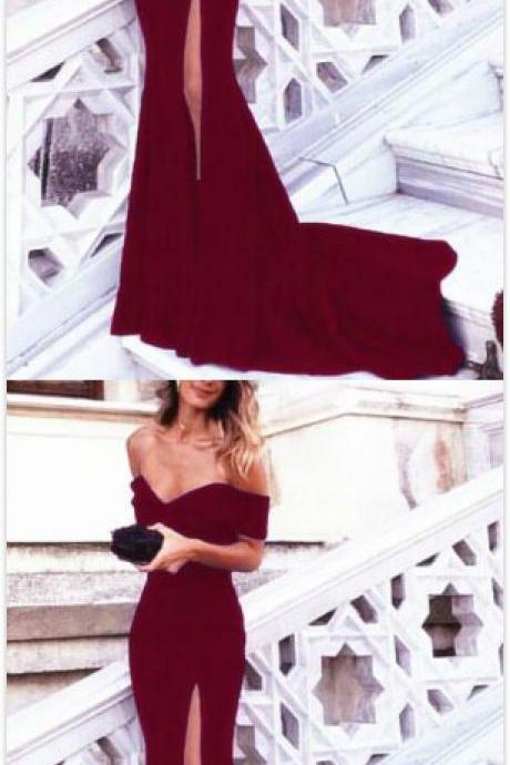 Burgundy Evening Dress,Cheap prom Dress,Sexy Mermaid Prom Dress,Long Evening Gowns,Off Shoulder Prom Dresses,Sexy Long Formal Dresses