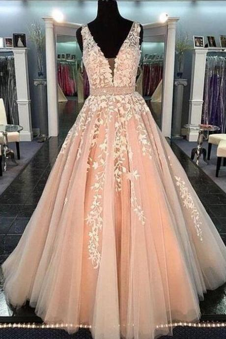 Tulle V-neck Prom Dress,Lace Prom Dress,Floor Length Prom Dresses ,2018 Engagement Dress For Wedding Party