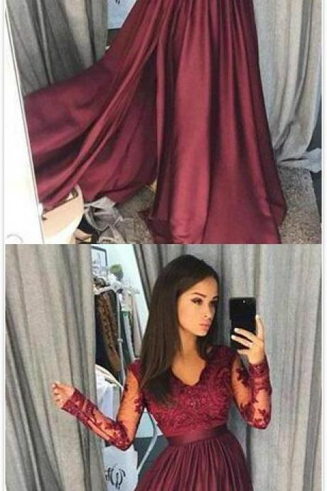 Sexy Burgundy Prom Dress,Long Sleeves Prom Dresses ,Satin A Line Prom Dress,V Neck Lace Sheer Prom Dress,Floor Length Evening Gowns ,Formal Party Dresses Vestidos de festa