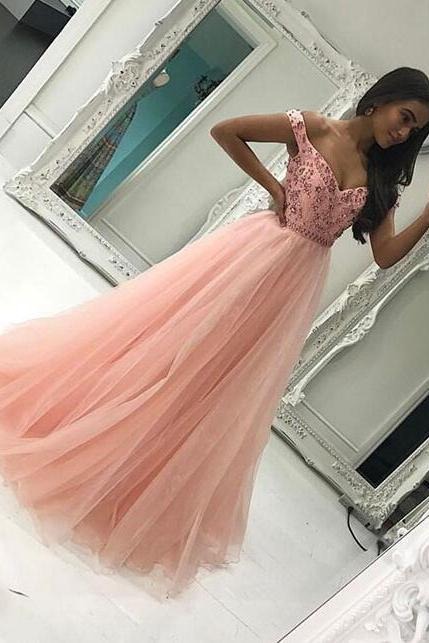 Off shoulder tulle Prom Dress,Unique Prom Dress,Pink long prom dress, Cheap Prom Dress,pink evening dress for teens