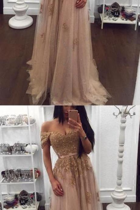 Beaded Prom Dress,Sweetheart Porm Dress,Gold Lace Prom Dress,Cheap Prom Dress,Tulle Prom Dresses Off-the-shoulder Evening Gowns 2018 Elegant