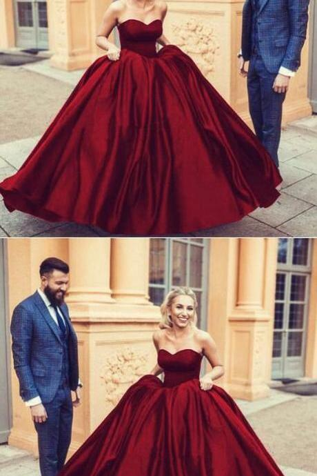 burgundy Prom Dress,Long Party Dress,satin ball gown wedding dress,sweetheart prom dress ball gowns,maroon wedding dress,wedding dress,wedding gowns 2018