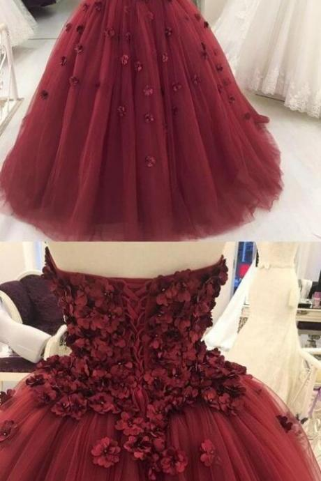 Strapless Prom Dress,Burgundy Prom Dress,Long Party Dress,Tulle Ball Gown Prom Dress, Formal Evening Dress, Women Dress