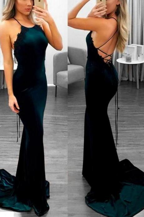 Charming Prom Dress,Cheap Prom Dress,Long Prom Dress,Open Back Prom Dress, Sexy Sleeveless Mermaid Evening Dress, Long Prom Dresses