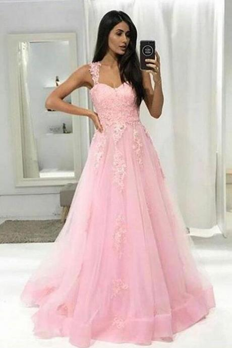 Pink Lace Prom Dress,Chiffon Prom Dress,Cheap Prom Dress,A-Line Prom Dress,Long Prom Dresses,Prom Dresses,Evening Dress, Evening Dresses,Prom Gowns, Formal Women Dress