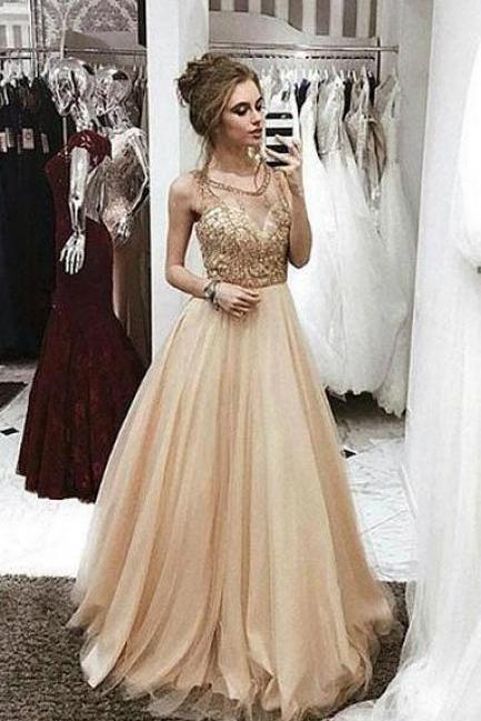 Champagne Prom Dress,Sexy round neck Prom Dress,Tulle Prom Dress 2018, beaded long prom dress, champagne evening dress