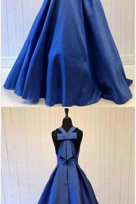 Halter Prom Dress Stain Prom Dress,Long Prom Dress,Cheao Prom Dress,Blue v neck long prom dress with bow, blue evening dress Prom Gowns, Formal Women Dress