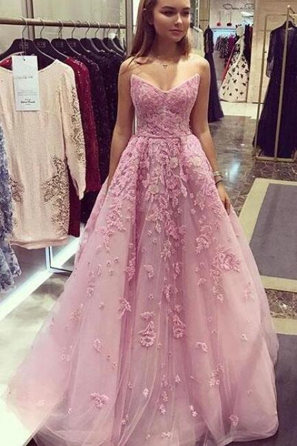 Pink Prom Dress,Cheap Prom Dress,tulle lace Prom Dress,Lace Prom Dress,Sweetheart Prom Dress,long prom dress, pink evening dress