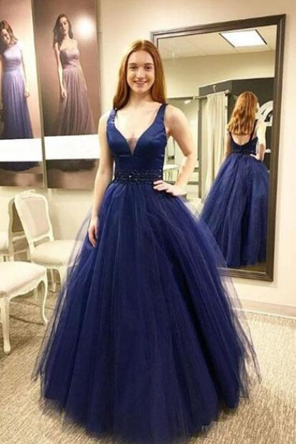 Sexy Tulle Prom Dress,Dark blue Prom Dress,Cheap Prom Dress,v neck tulle long prom dress, blue evening dress Prom Gowns, Formal Women Dress