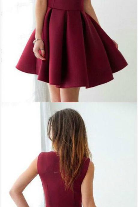 Red Wine Homecoming Dress,Stain Homecoming Dress,V Neck Prom Dress,Sexy Party Dress, short Prom Dress, Short Homecoming Dresses