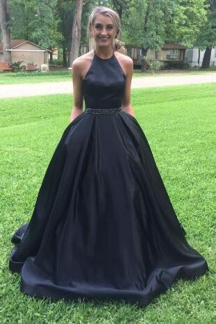 Long Prom Dresses,Sexy Prom Dresses,Halter Satin Prom Dress,Long Evening Dress, Evening Dresses,Prom Gowns, Formal Women Dress,prom dress