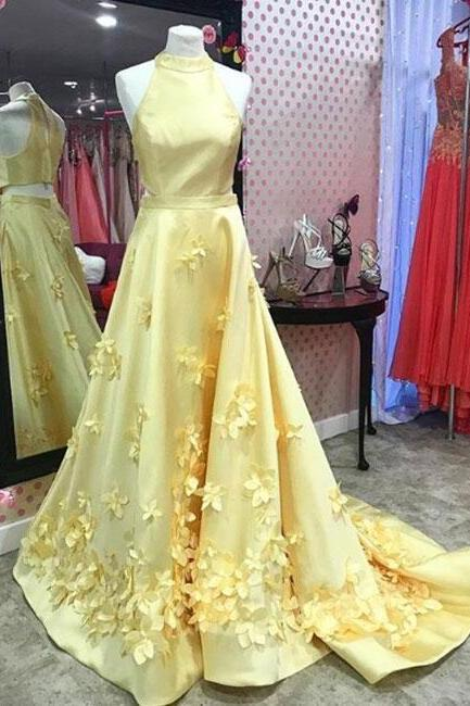 Yellow satin Prom Dress,Unique Prom Dress,Cheap Prom Dress,long prom dress, yellow evening dress