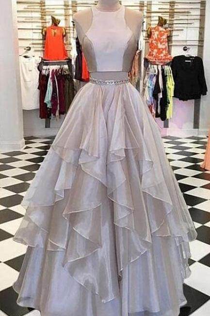 Chiffon Prom Dress,Long Prom Dress,A Line Prom Dress,Sexy Prom Dress,Two pieces long prom dress, evening dress