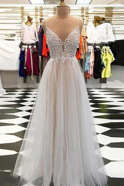 Sex Prom Dress,Tulle Prom Dress,Cheap Beading Prom Dress,A line prom dress,v neck tulle long prom dress, champagne evening dress Prom Gowns, Formal Women Dress