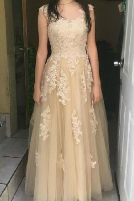 Long Tulle Prom Dresses,Lace Prom Dresses,Appliques Prom Dress,Sexy Evening Dress, Evening Dresses,Prom Gowns, Formal Women Dress