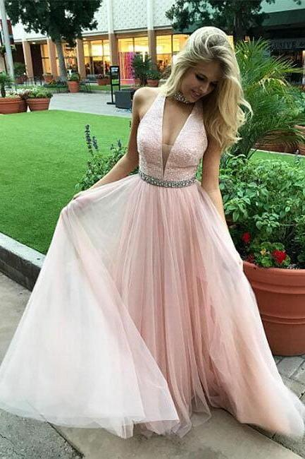 Formal Women Dress,Sexy Evening Dress, V-Neck Beading Prom Dress,Long Prom Dresses,Prom Dresses,Evening Dresses,Prom Gowns