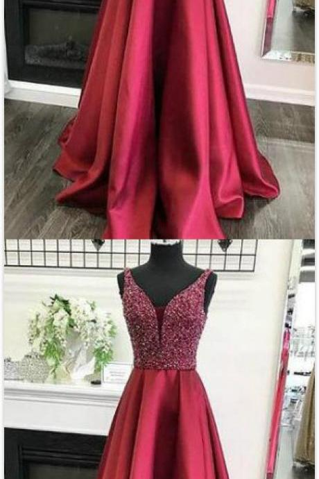 Sparkly Red Prom Dress,Stain Prom Dress,Beading Prom Dress,Long Prom Dress Evening Dress,Prom Dresses,Evening Dress, Prom Gowns, Formal Women Dress,2018 prom dress