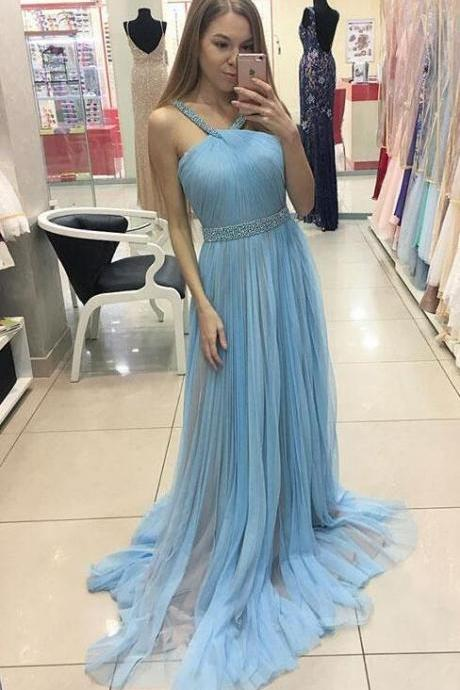 Simple blue Prom Dress,Cheap Prom Dress,Chiffon Prom Dress,Sexy Prom Dress,tulle long prom dress, tulle evening dress