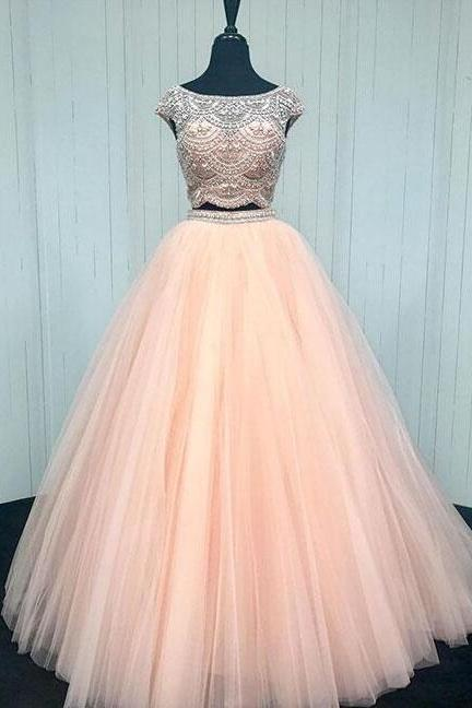 Two pieces Prom Dress,tulle long prom dress, ALine prom Dress,Sexy Beading Dress,Cheap Prom Dress, pink evening dress
