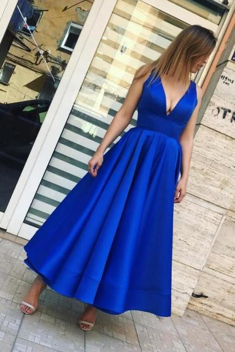 Sexy Stain Prom Dress,Royal Blue Prom Dress,CHeap Prom Dress,Short Prom Dress, Simple Charming Prom Dresses, Satin Evening Dress, V Neck Evening Formal Dress, Woman Dresses