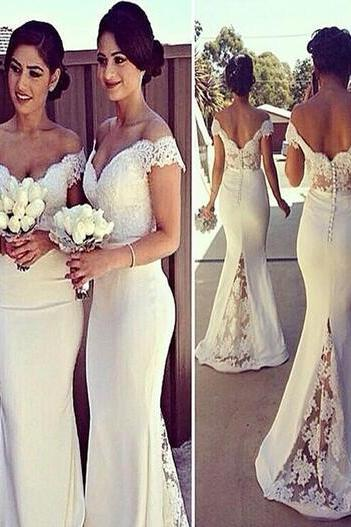 Off-the-Shoulder Bridesmaid Dress,Cheap Bridesmaid Dress,Long White Bridesmaid Dress,Mermaid Bridesmaid Dress,Bridesmaid Dress with Lace,Sexy Bridesmaid Dress