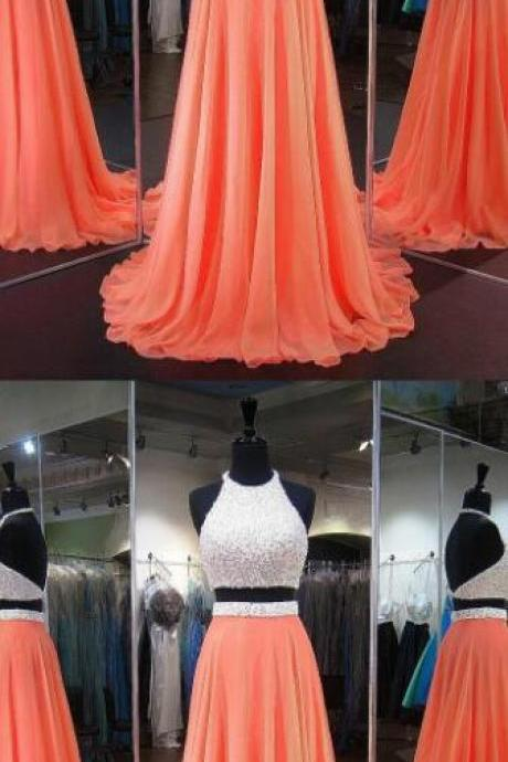 Halter Chiffon Prom Dress, Orange Homecoming Dresses, Crystal Detailing Backless Prom Dress,Sweep Train Two Piece Prom Dresses