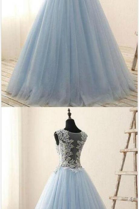 Light Blue Scoop Neck Prom Dress,Cheap prom Dress,Tulle Prom Dress,Sexy Prom Dress,Applique Lace Prom Dress,Blue Evening Dress