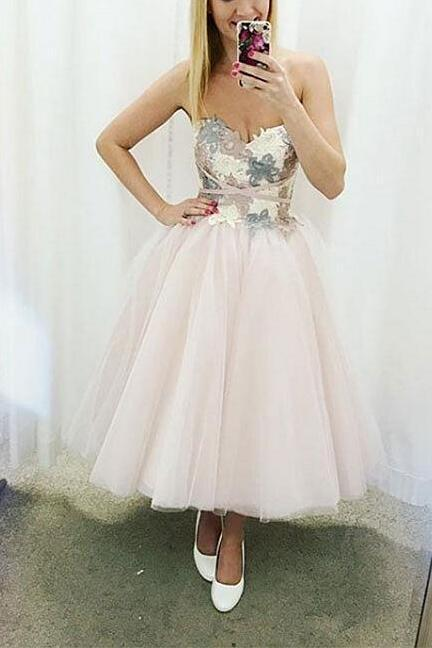 Cute sweetheart neck Prom Dress,Short prom Dress,Cheap Prom Dress,lace tulle short prom dress
