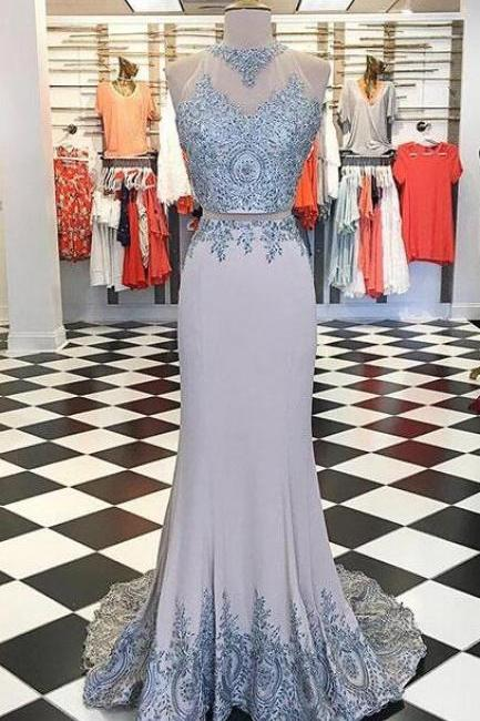 Unique Prom Dress,Stain prom Dress,Cheap Prom Dress,gray lace Prom Dress,applique long prom dress, cheap evening dress