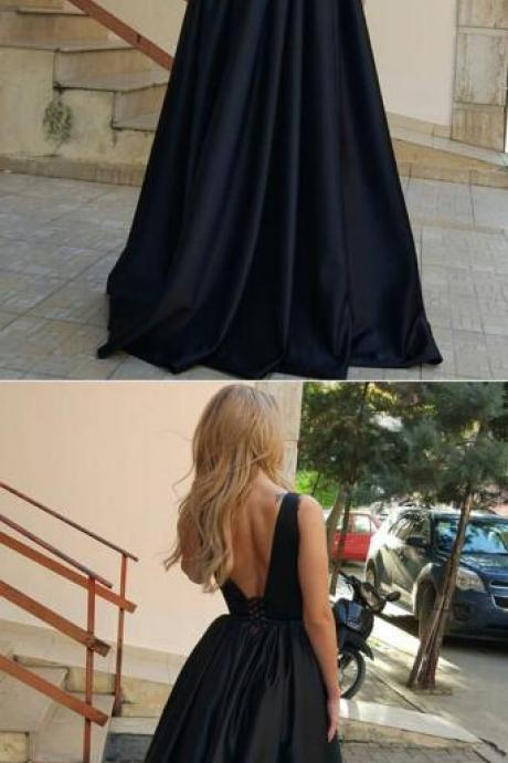 Sexy V neck Prom Dress,A Line prom Dress,Cheap Prom Dress,Simple black long prom dress, black evening dress