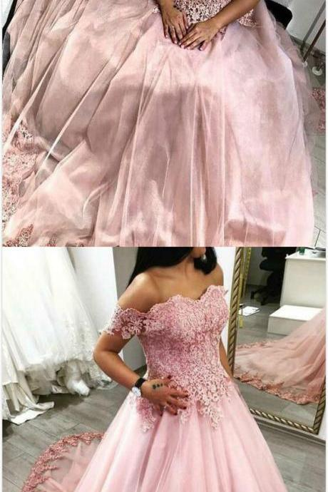 Off the Shoulder Stain Prom Dress,Pink Prom Dress,lace prom Dress,Cheap Prom Dress,Ball Gowns Prom Dress