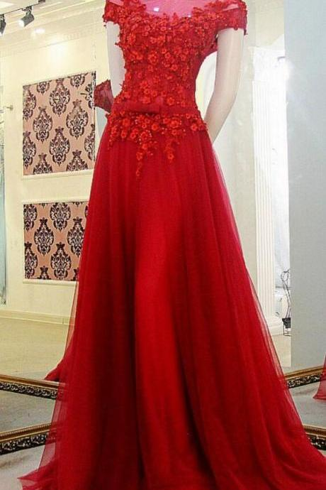 Cap Sleeves Prom Dress,,Off the Shoulder red Prom Dress,lace Prom Dress,Appliques Tulle Custom Made Evening Dress