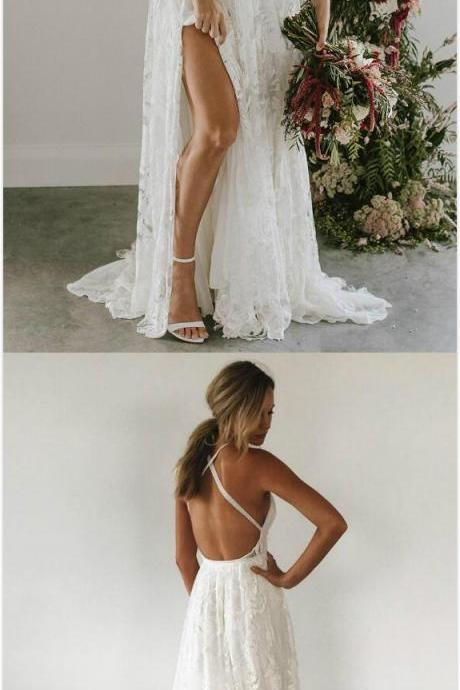 White Prom Dress,lace Prom Dress,v neck lace long prom dress, white evening dress,Sexy Prom Dress, 2018 Prom Gown
