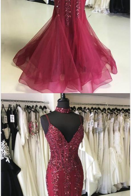 Spaghetti Strap Sexy Prom Dress, Cheap Prom Dress,tulle Prom Dress,V Neck Beaded Prom Dress,Mermaid Long Prom Dress, Evening Dress Featuring Choker Necklace