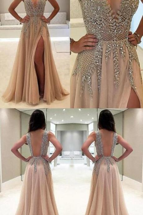 Beaded Prom Dress,Chiffon Prom Dress,Custom Made Deep V Prom Dress,Fashion Prom Dress,Sexy Side Slit Evening Dress.High Quality