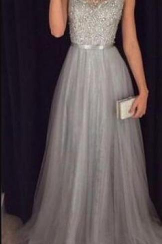 Cap Sleeves Beading Prom Dress,Long Formal Dress, Tulle prom Dress,Cheap Prom Dress,Elegant Beading Tulle Long Dress