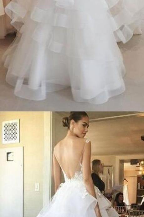V-neck Lace Wedding Dress,Tulle Wedding Dress,Beach Wedding Dress,white prom dress, organza long prom dress, lace backless prom dress