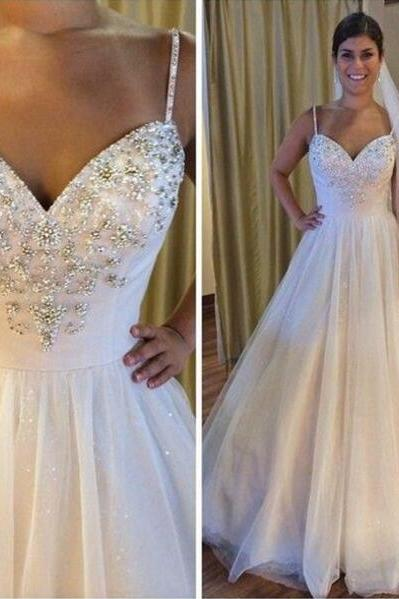A Line Wedding Dress,Tulle Wedding Dress,Cheap Wedding Dress,Ball Gown Wedding Dresses,Backless Spaghetti Straps Bridal Gowns Weddings Dress