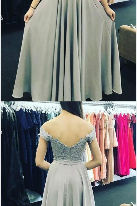 Sexy Grey Prom Dress,A Line Chiffon Prom Dress,Sexy Lace Prom Dress, Appliques Prom Dress, Off Shoulder Long Evening Dress, Formal Gown
