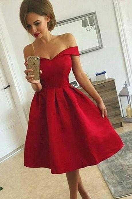 Cute A-Line Prom Dress,Short Prom Dress,Stain Prom Dress,Off Shoulder Prom Dress,Short Prom Dress,2018 Homecoming Dresses