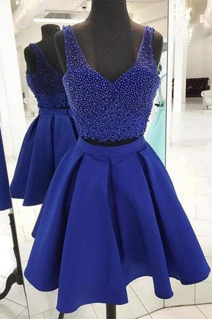 Blue beaded prom dress,sexy prom dress,cheap prom dress,two pieced homecoming dress,A line short prom dress,blue homecoming dress