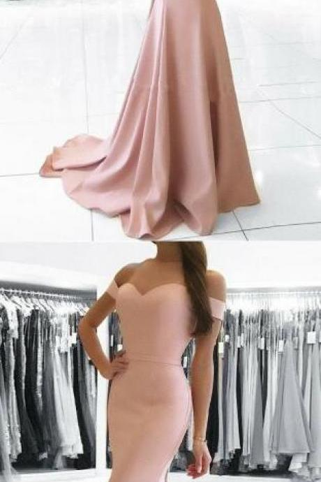 Simple blush pink Prom Dress,Long Stain Prom Dress,Sexy party dress, Cheap Prom Dress,off shoulder prom dress, mermaid long evening dress
