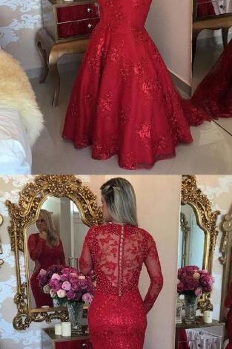 Long Sleeve Prom Dress,Sexy Evening Gowns,Mermaid Prom Dresses, Long Prom Dress,Beading Prom Dress,V Neck Prom Dress, Tulle Party Dresses, Red Formal Dresses