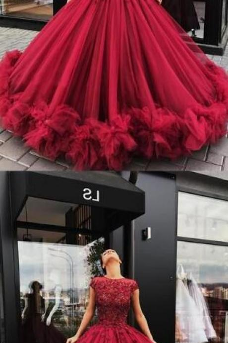 Charming burgundy prom dress,ball gown prom dress,sexy prom dress,long party dress, tulle long prom dress, cap sleeves prom dress