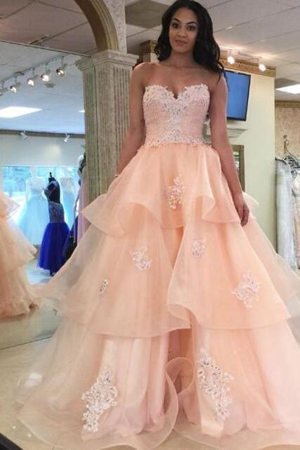 Long Prom Dresses, Custom Made Prom Dress,Lace Prom Dress,Pink Prom Dresses, Long Pink Prom Dresses With Applique Floor-length Sweetheart Sale Online
