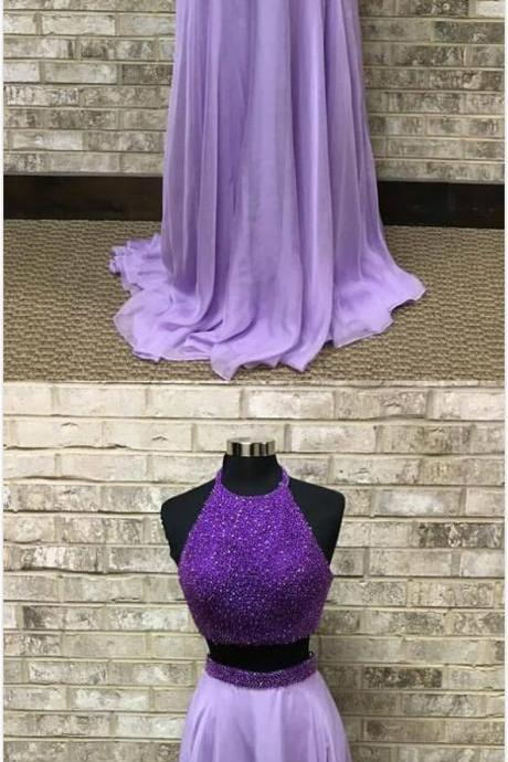 Lavender Two Piece Prom Dress,Sexy Long Sleeveless Prom Dress,Chiffon Prom Dresses ,Sexy Evening Dresses ,Elegant Formal Gowns ,Open Back Beaded Party Pageant Dresses for Teens Girl